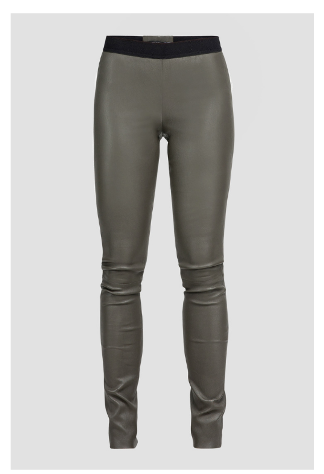 ZINGA Leather Echt leder leggings damen Grun | Uma 6820