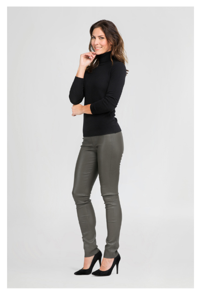 ZINGA Leather Echt leer legging dames groen | Uma 6820