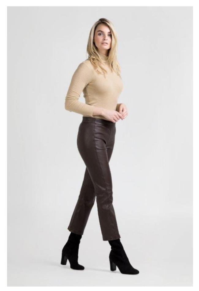 ZINGA Leather Real leather pants women brown | Birken 6116