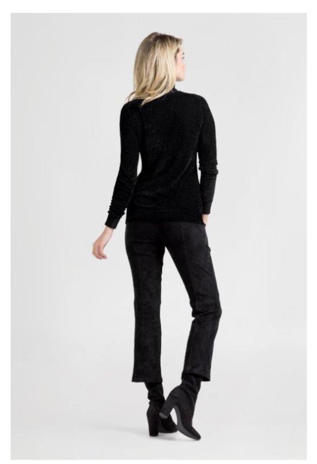ZINGA Leather Echt leren suède broek dames zwart   Birken 4999