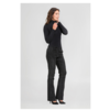 ZINGA Leather Flare pants real suede women black | Flo 4999