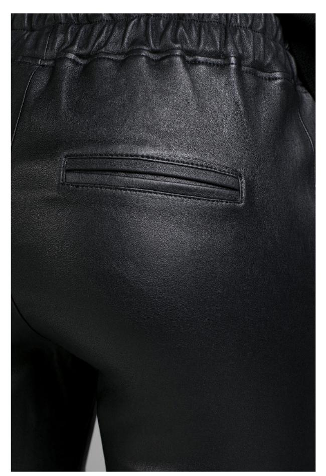 ZINGA Leather Boyfriend hose echt leder damen Schwarz | Noah 6999