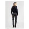 LINA 6999 Stretch leather cropped pants with a high waist.