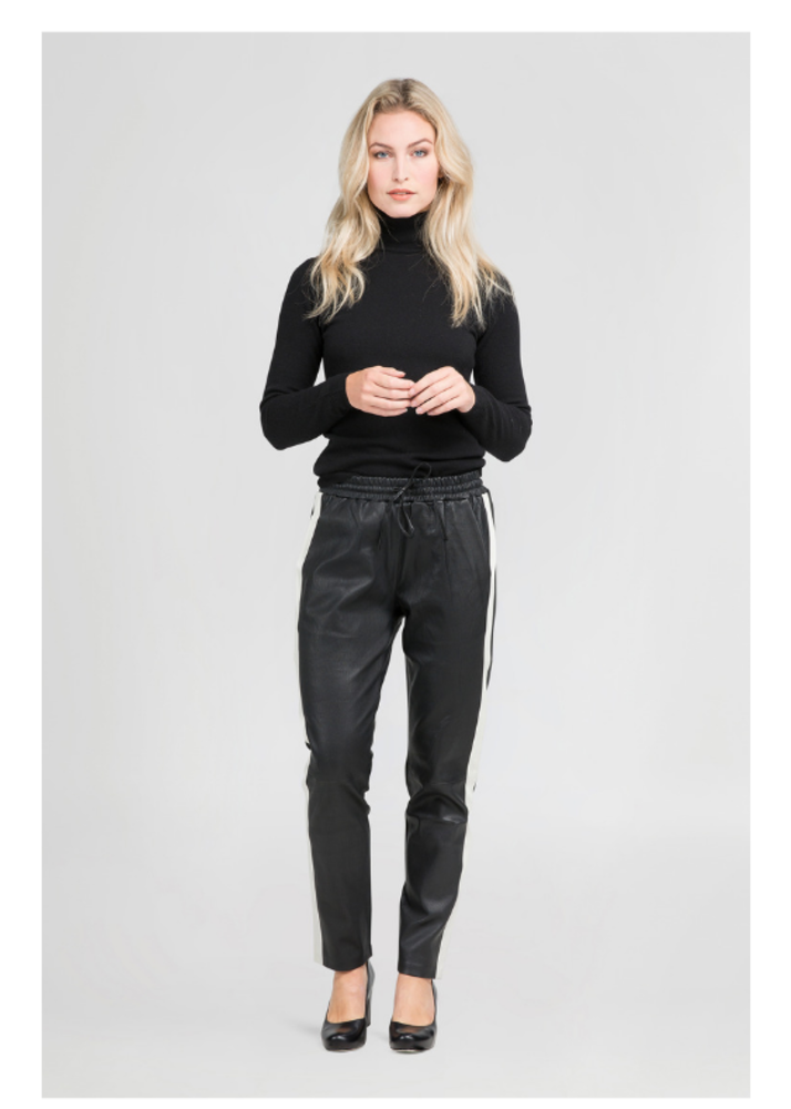 EVI Black Pants with Sidestripes