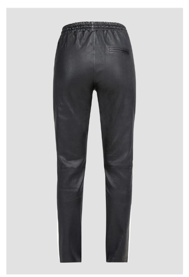 ZINGA Leather Boyfriend broek, echt leer, dames zwart | Evi 6999
