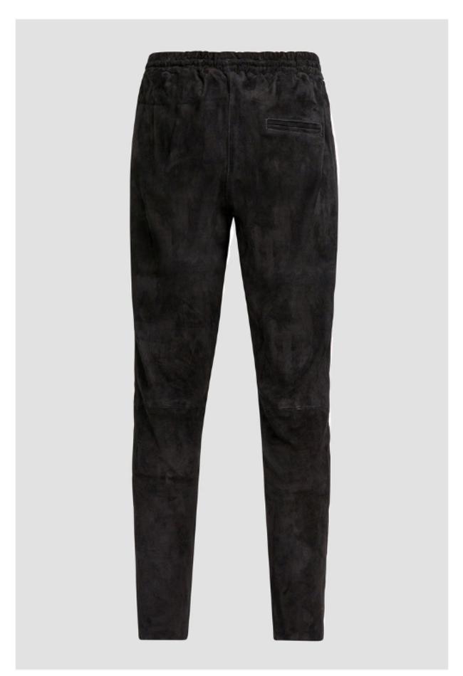 ZINGA Leather Boyfriend broek echt leer, suede dames zwart   Evi 4999