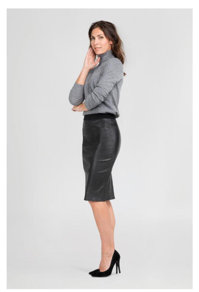 ZINGA Leather Echt leren kokerrok dames zwart | Coco 6999