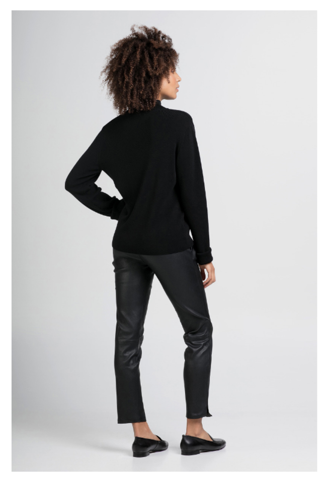 ZINGA Leather Boyfriend broek echt leer dames zwart | Noah 6999