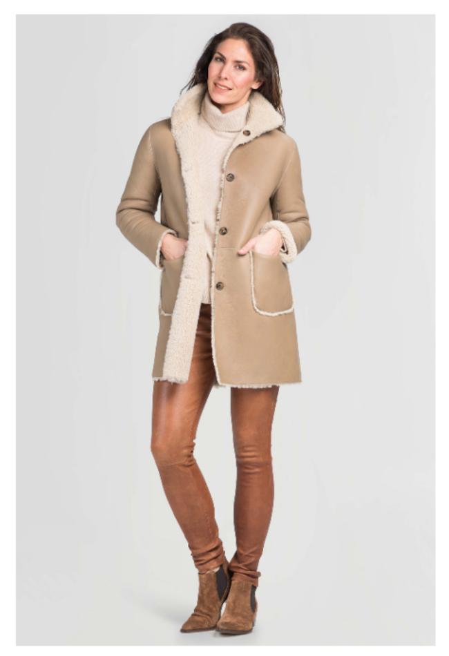 ZINGA Leather Real reversible lambskin coat women ecru | Sophie 8200