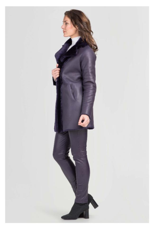ZINGA Leather reversible Dames jas van echt lamsleer paars | Angela 7100