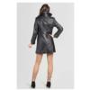 ZINGA Leather Echt leer trenchcoat dames zwart | Lois 5999