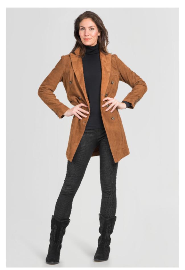 ZINGA Leather Echtleder, Wildleder Blazer Damen Cognac   Helena 2400