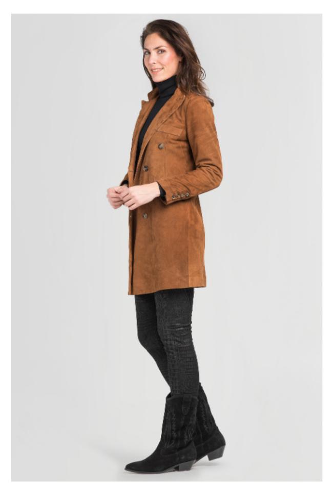 ZINGA Leather Real leather, suede blazer ladies Cognac   Helena 2400