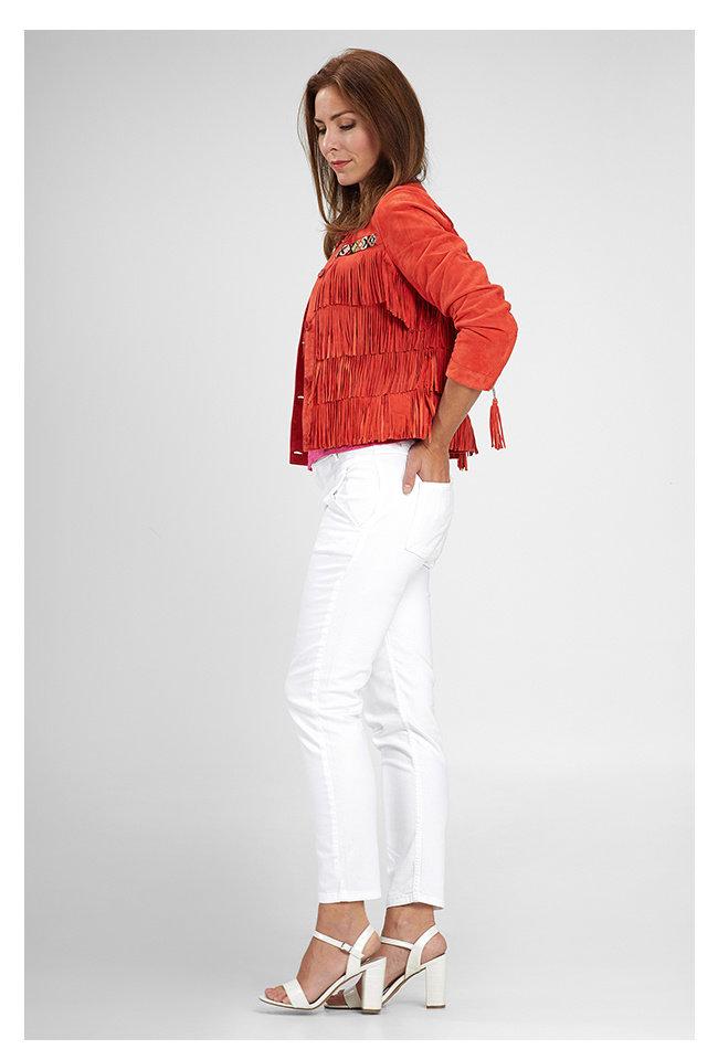 ZINGA Leather Genuine leather, suede ladies jacket red | Nathalie 2563