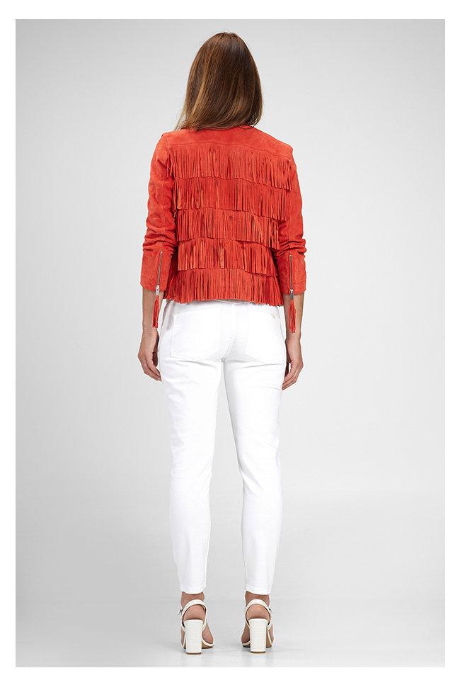 ZINGA Leather Damenjacke aus echtem Leder, Wildleder rot | Nathalie 2563