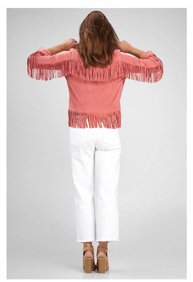 ZINGA Leather Damenjacke aus echtem Leder und Wildleder Pink | Sophia 2640