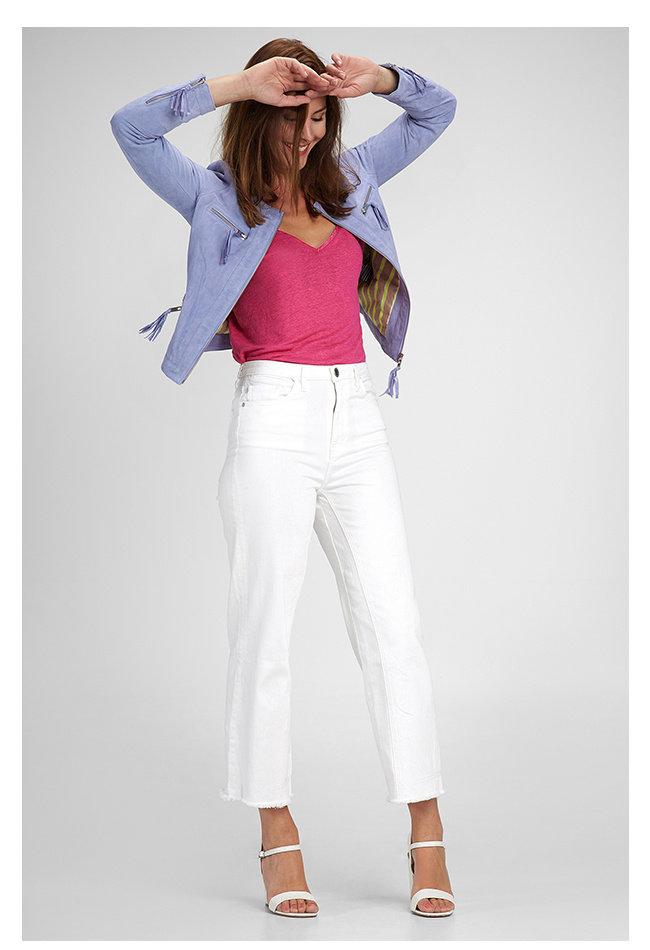 ZINGA Leather Damenjacke aus echtem Leder, Wildleder blau | Tess 2460