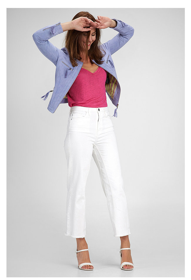 ZINGA Leather Genuine leather, suede ladies jacket blue   Tess 2460