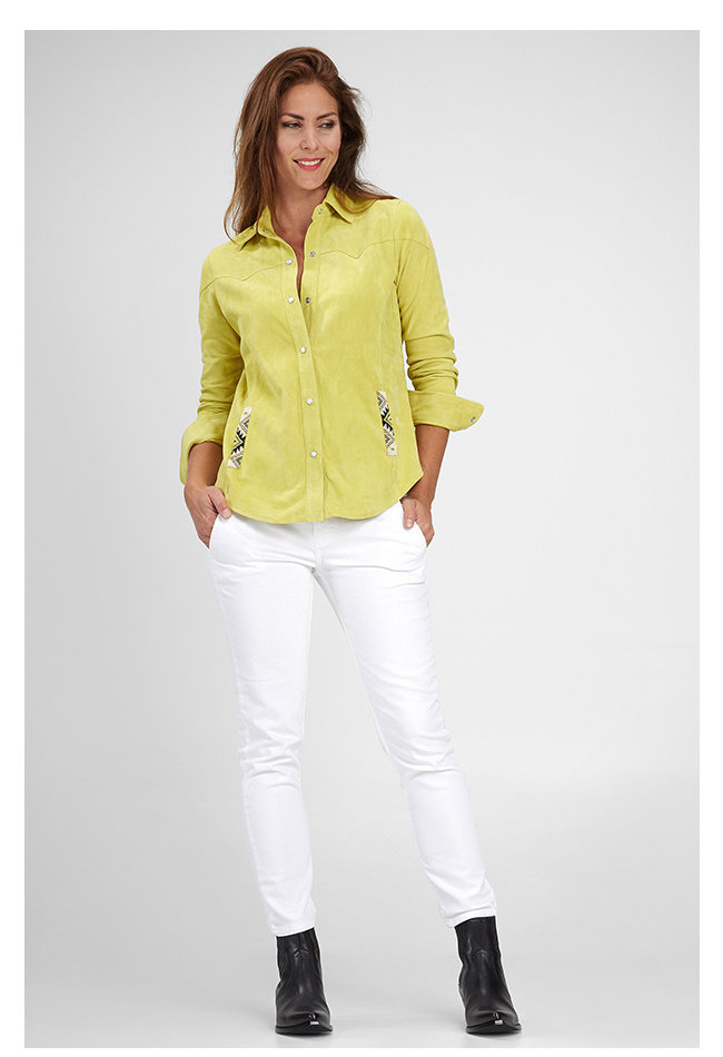 ZINGA Leather Echt leer, suede blouse dames geel | Anna 2741