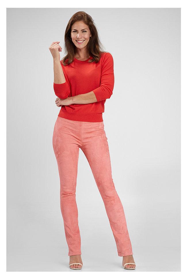 ZINGA Leather Schlaghose echtes Wildleder Damen pink | Gaby 4640