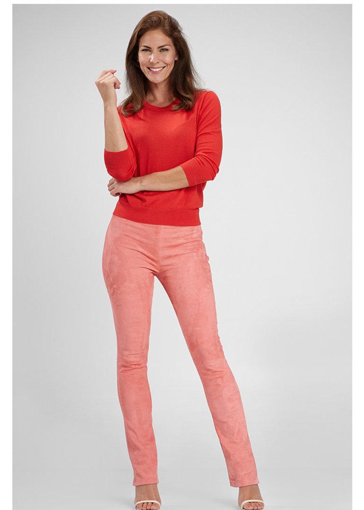 ZINGA Leather Flare broek echt leer dames roze | Gaby 4640