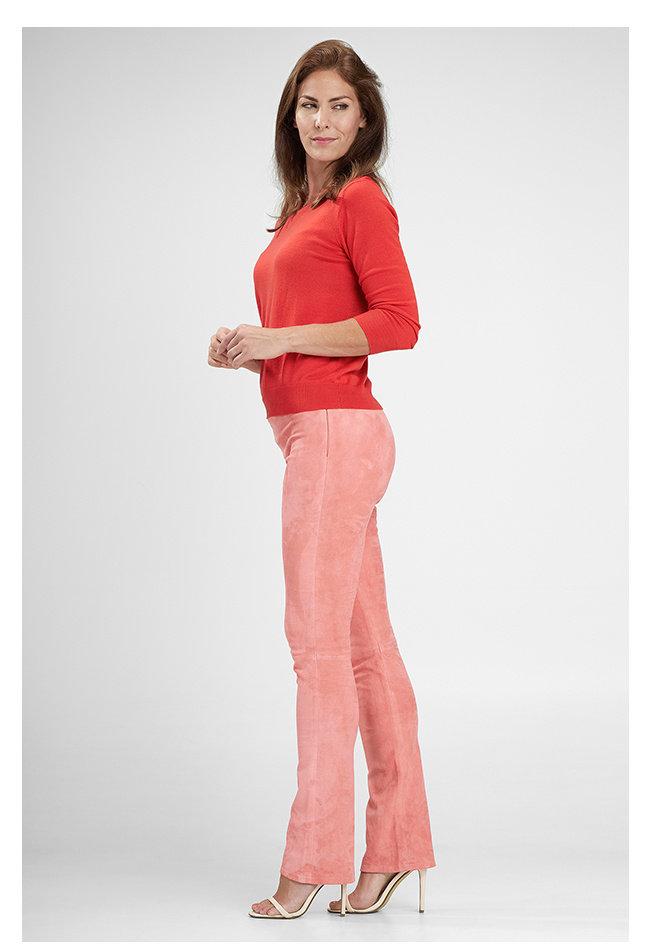 ZINGA Leather Flare broek echt suede dames roze   Gaby 4640