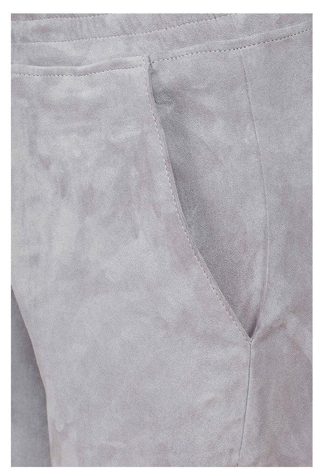 ZINGA Leather Boyfriend broek suède, echt leer dames lichtgrijs | Noah 4880