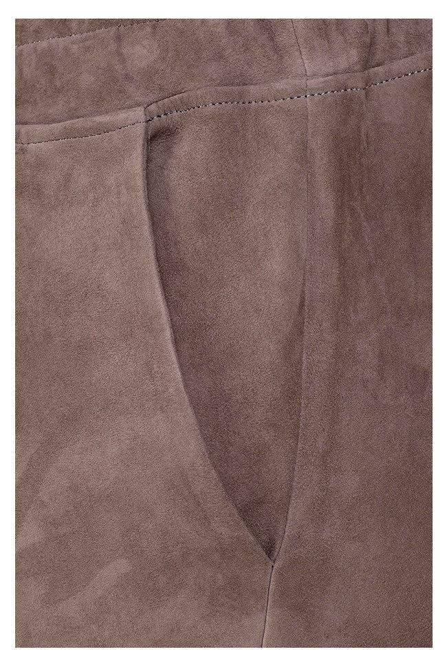 ZINGA Leather Boyfriend broek suède, echt leer dames taupe | Noah 4653