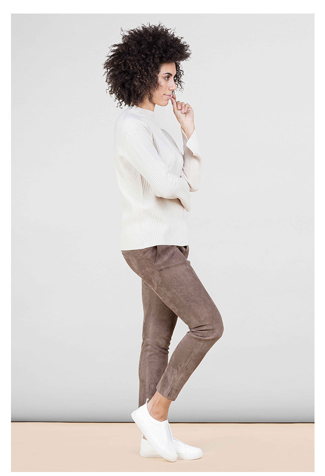ZINGA Leather Boyfriend pants suede, real leather ladies taupe | Noah 4653