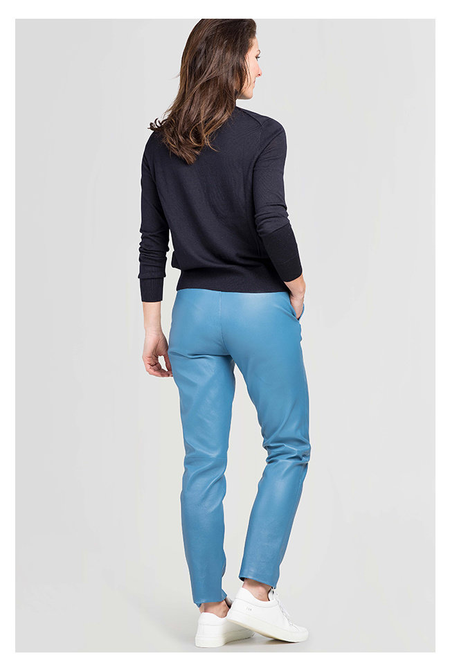 ZINGA Leather Boyfriend pant real leather women blue | Olivia 6360