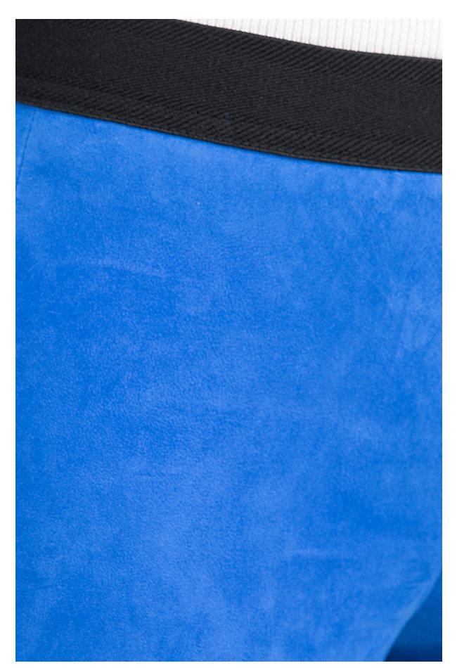 ZINGA Leather Echt Leder Leggings velour Damen Blau | Uma 4360