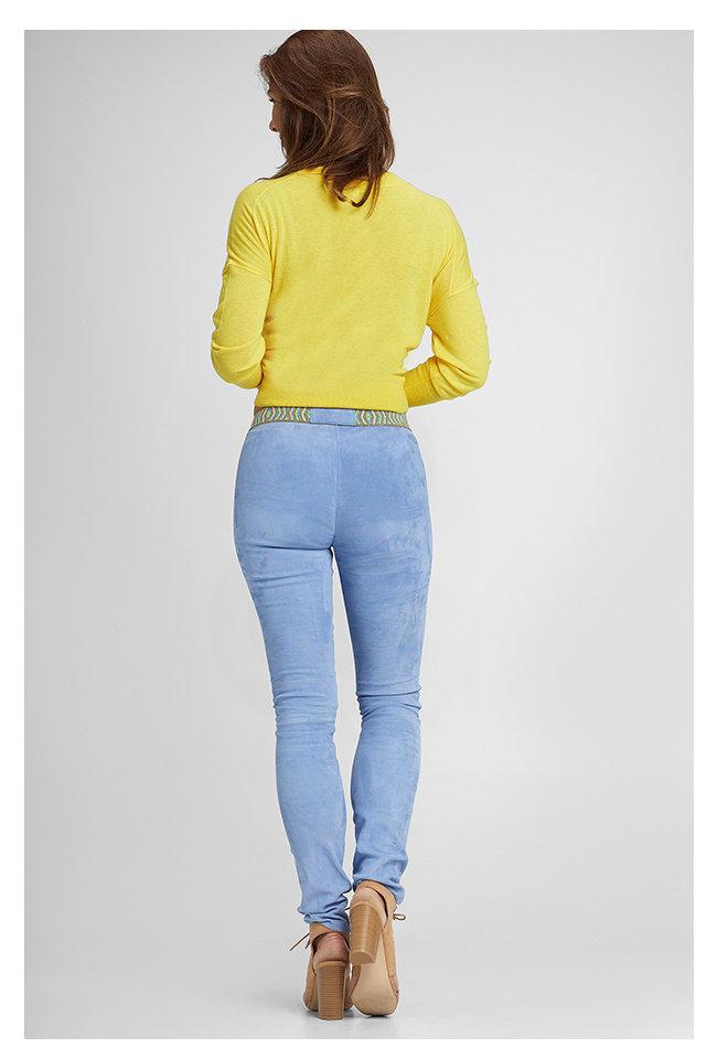 ZINGA Leather Real leather, suede legging women blue | Uma 4460