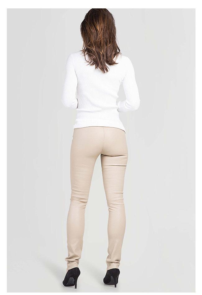 ZINGA Leather Real leather leggings women ecru | Uma 6101