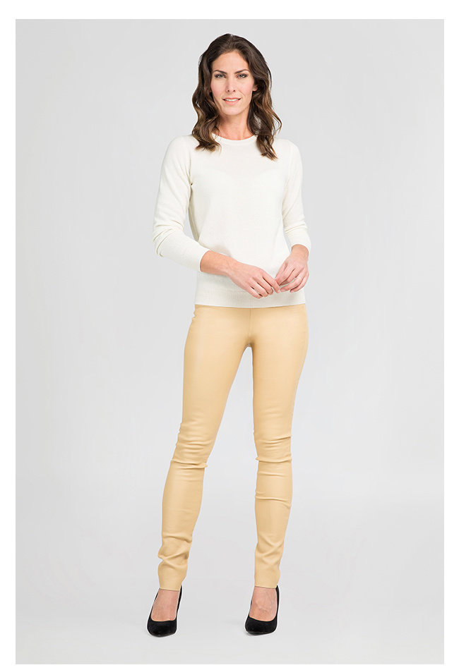 ZINGA Leather Echt Leder leggings Damen Ecru   Uma 6320