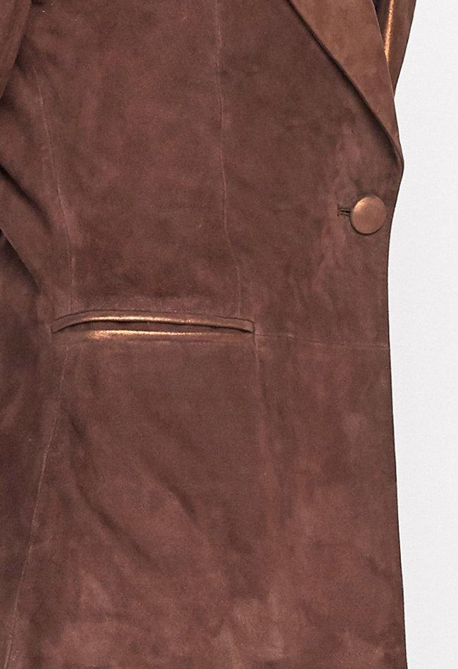 ZINGA Leather Echt leer, suede blazer dames bruin   Vera 9116