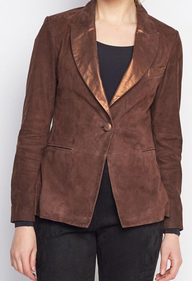 ZINGA Leather Echt leder Bläser Damen Braun velour| Vera 9116