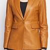 ZINGA Leather DAMENLEDERBLAZER  IN COGNAC-FARBTON AUS GLATTLEDER | JULIA 5300