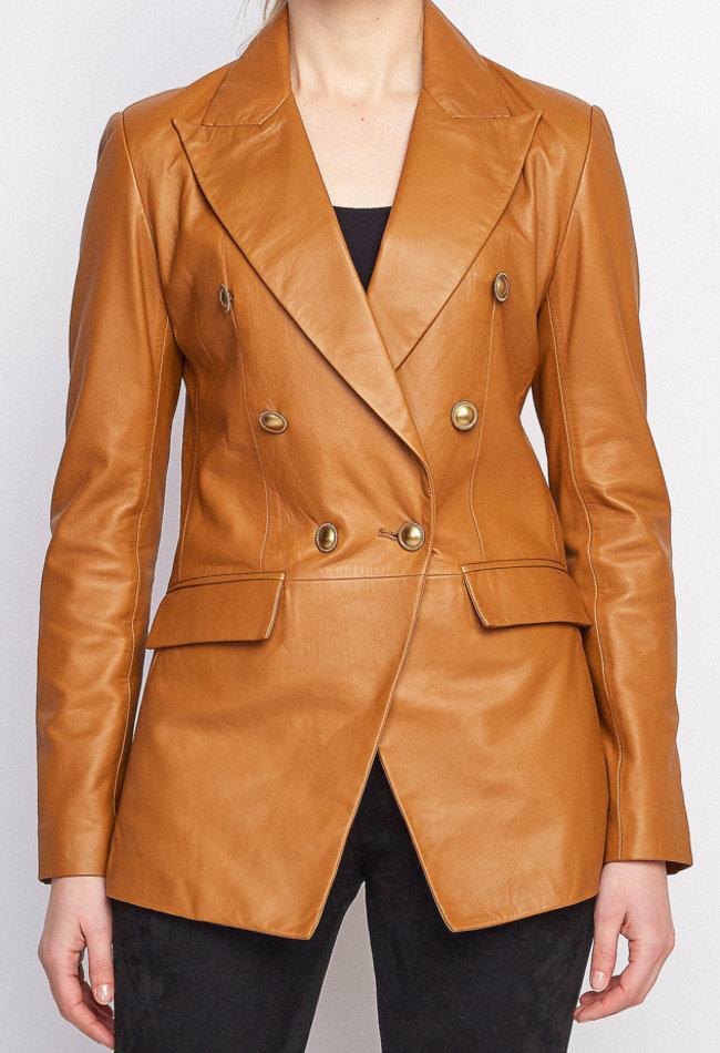 ZINGA Leather Echt leer, blazer dames cognac | Nola 5300