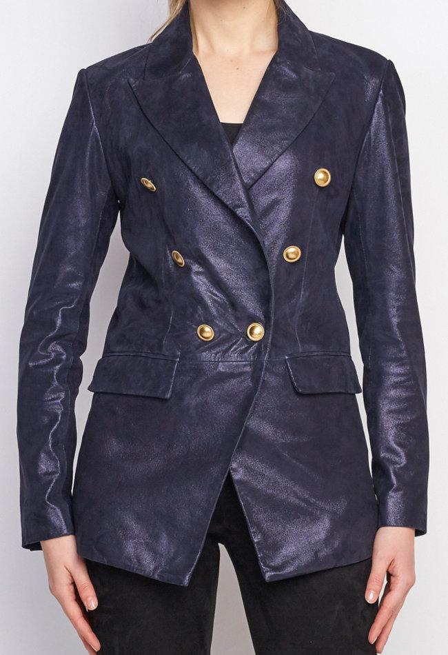 ZINGA Leather Real leather, suede blazer ladies Navy Metallic   Nola 9200