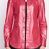 ZINGA Leather Real leather, metallic suede blouse women Fucsia | Anna 9610