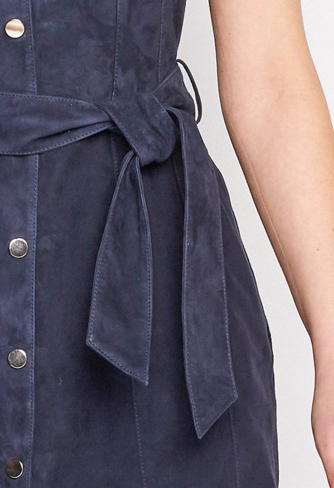 ZINGA Leather Jurk echt leer dames Navy | Suze 2200