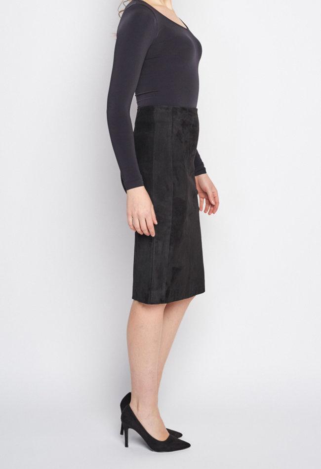 ZINGA Leather Echtes Leder, Wildleder langer Bleistiftrock Frauen schwarz | Christina 4999