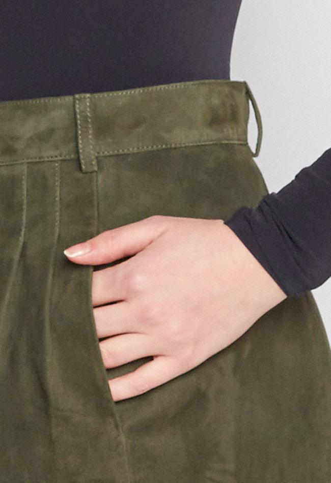 ZINGA Leather Echt leder Bleistift Rocke velour damen Grun | Maria 2210