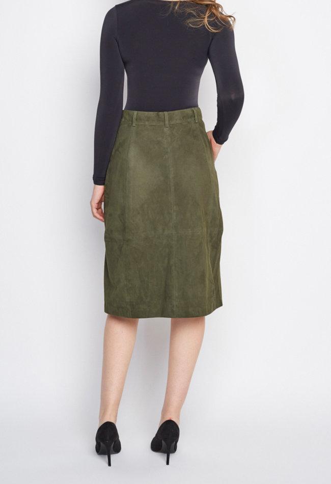 ZINGA Leather Grüner Lederrock aus Veloursleder | Maria 2210