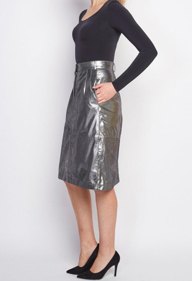 ZINGA Leather Echt leer, metallic suede kokerrok dames zilver | Maria 9999