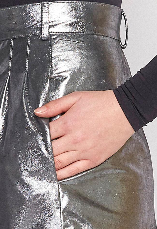 ZINGA Leather LEDERROCK IN METALLIC-SILBER   MARIA 9999
