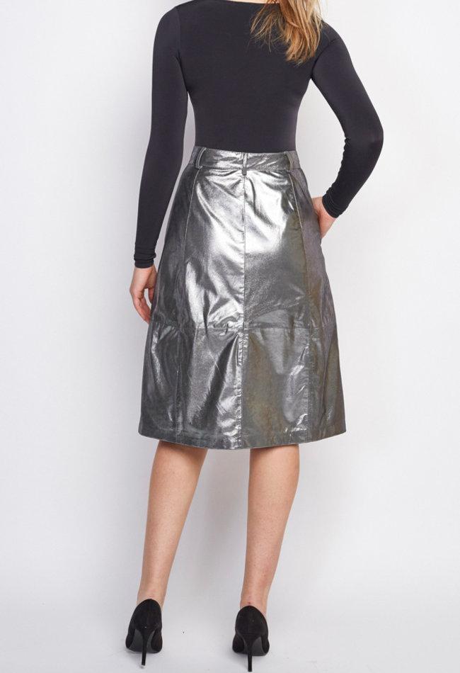 ZINGA Leather Echt leder Bleistift Rocke metallic velour damen Silber | Maria 9999