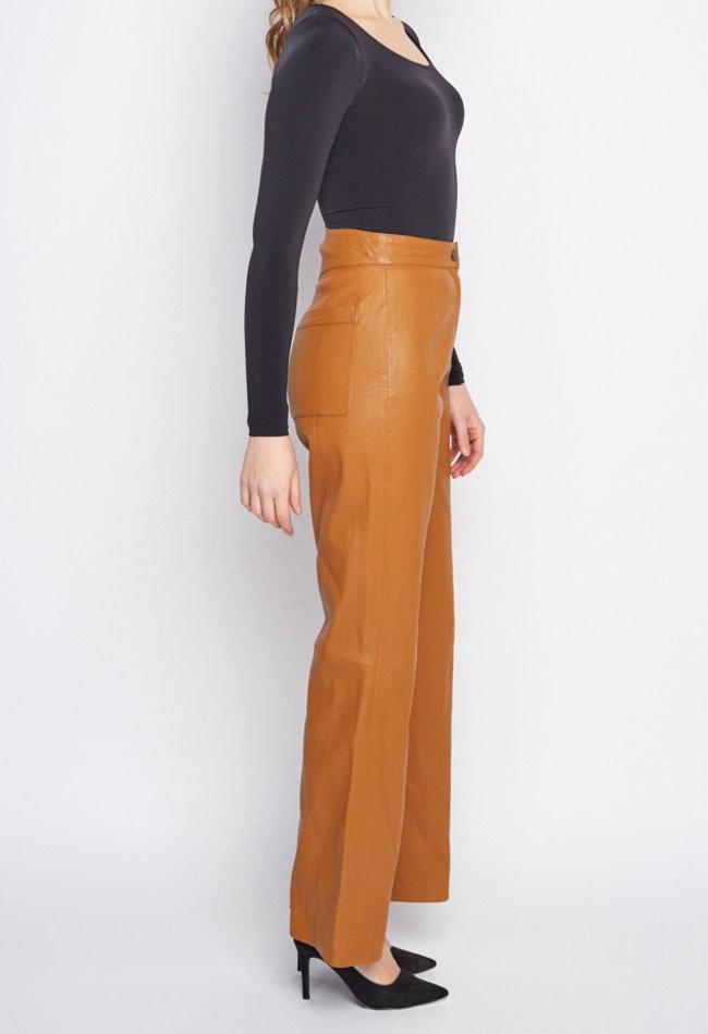 ZINGA Leather Echt Lederhose damen Cognac | Nora 6500