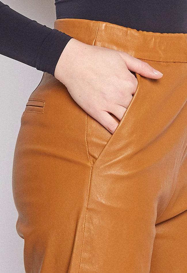 ZINGA Leather Echt Lederhose damen coulotte Cognac   Mira 6500