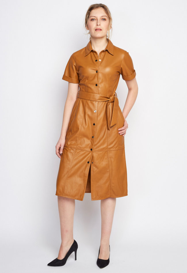 ZINGA Leather BLUSENKLEID AUS NAPPALEDER IN COGNAC  | SUZE 5300
